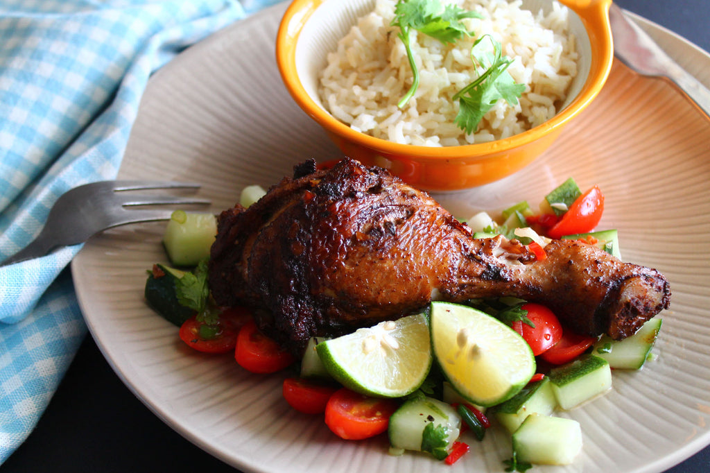 Jerk Chicken with Steamed Brown Rice and Tomato Cucumber Salsa (Spicy) + Dessert