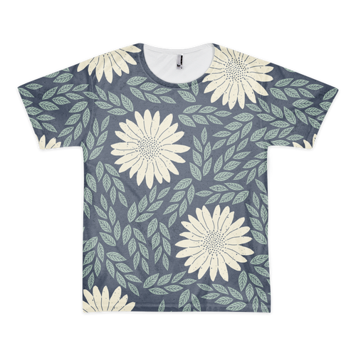 Blue and White Flower Print T