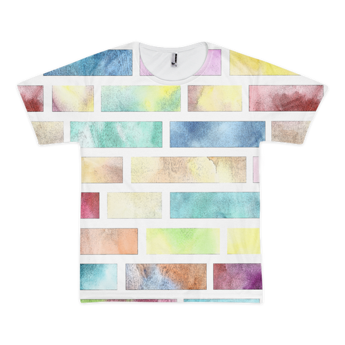 Multi-Color Brick Print T