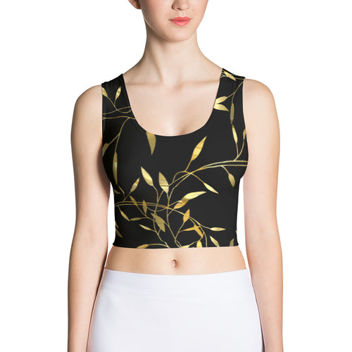 Black and Gold Print Crop Top