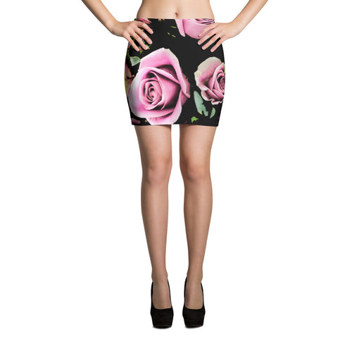 Black and Pink Floral Mini Skirt