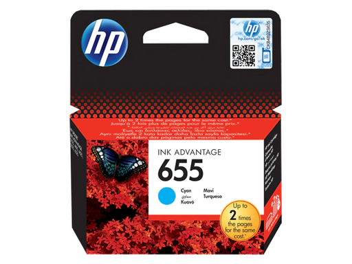 HP 655 Cyan Original Ink Advantage Cartridge