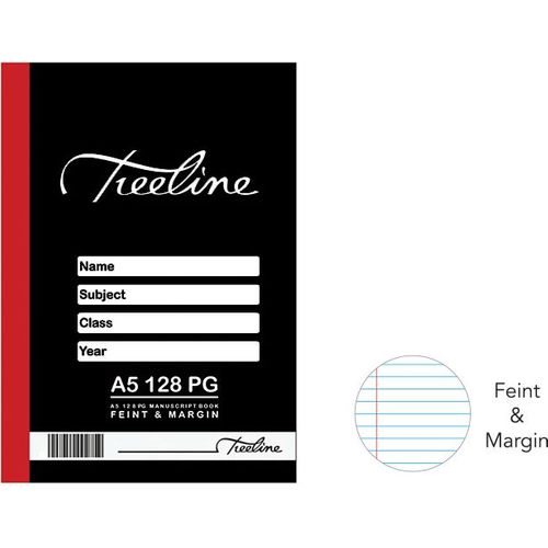 A5 Hard Cover Feint and Margin Manuscript Book (128 Pages)