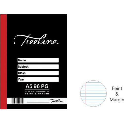 A5 Hard Cover Feint and Margin Manuscript Book (96 Pages)