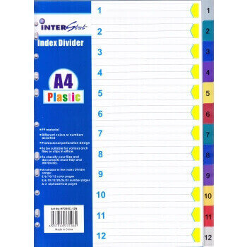 A4 PVC Divider Index (Numbered 1-12)