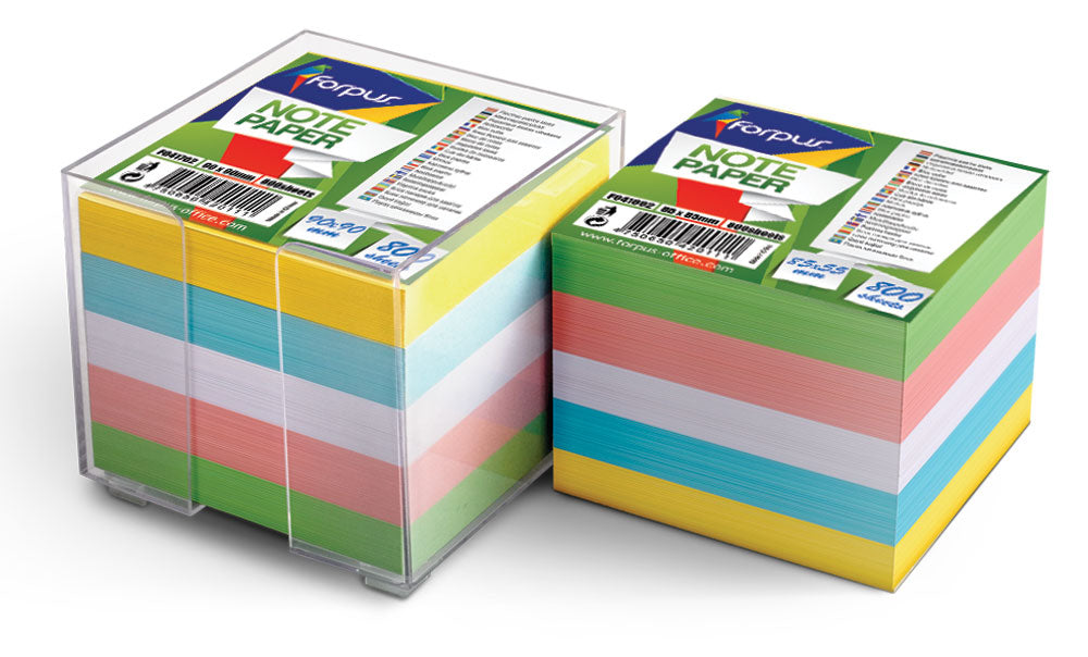 Note paper 800 sheets in plastic box assorted colours - 85mm x 85mm
