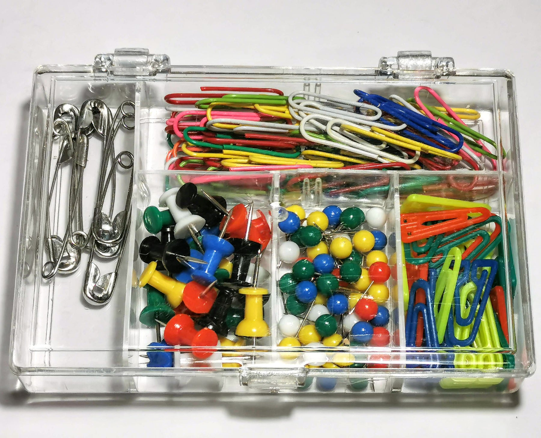 Set of paper clips, safety pins, map pins, push pins
