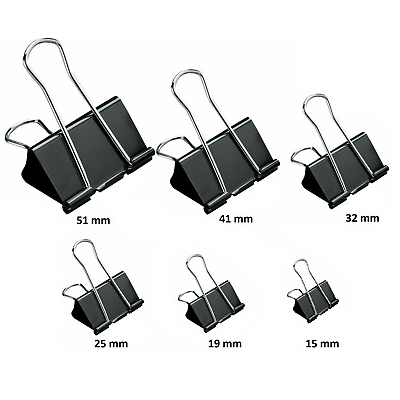 25mm Foldback Binder Clips - 12 Pcs