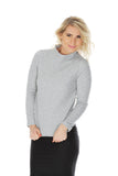 'ADARA' high-neck knitted jacquard jumper - Light Grey