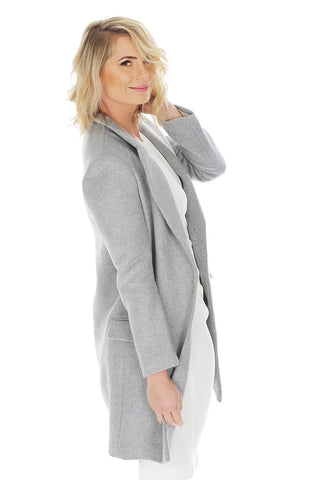 'CELESTINE' transformable wool coat - Light Grey