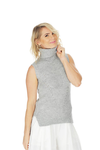 'ALESSIA' roll-neck hi-low sleeveless knit - Light Grey