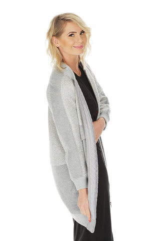 'ARAMINTA' long-line bomber coat - Metallic Grey