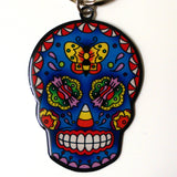 Butterfly Sugar Candy Skull Key Ring