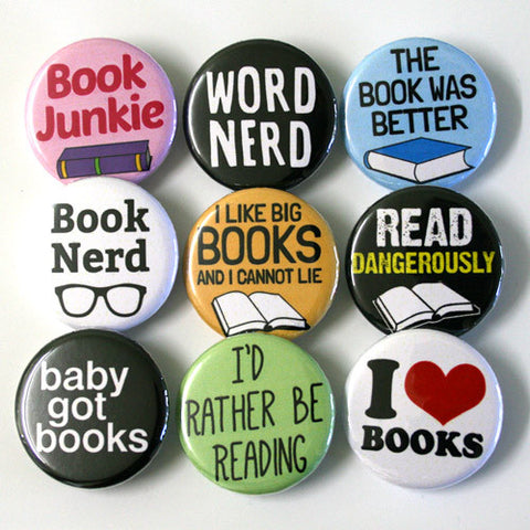 Book Nerd Button Set