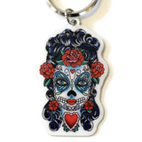 Butterfly Eyes Sugar Skull Key Ring