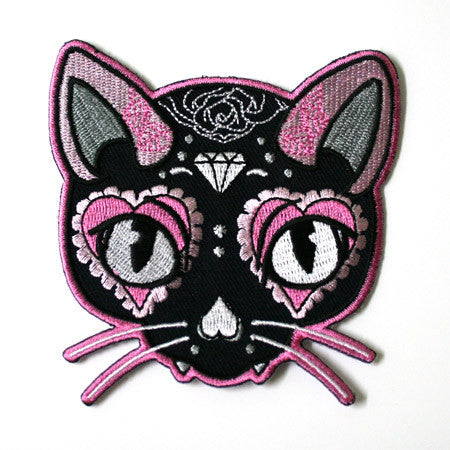 Pink Cat Sugar Skull Patch