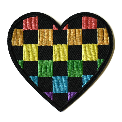 Rainbow Check Heart Patch