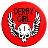 Derby Girl Skull Button