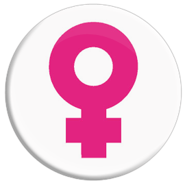 Venus Female Symbol (Pink) Button