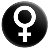 Venus Female Symbol (Black) Button