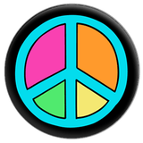Colourful Peace Symbol Button