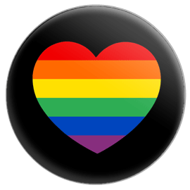 Gay Pride Heart (Black) Button