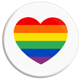Gay Pride Heart (White) Button