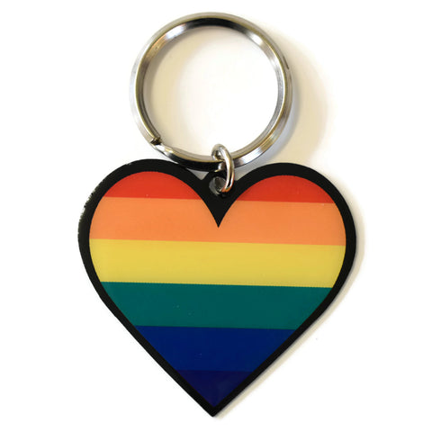Rainbow Pride Heart Key Ring