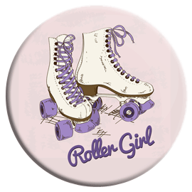 Retro Roller Girl Button