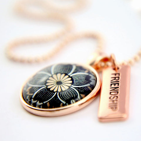 Rose Gold Pendant Necklace with Friendship Word Charm