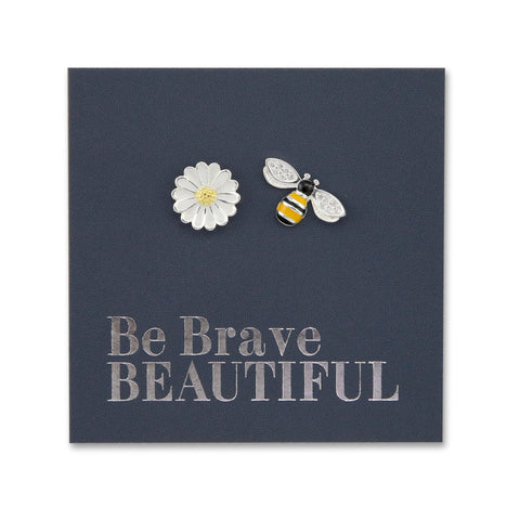 """BEE AND FLOWER STUDS earrings in a card saying 'Be Brave Beautiful"""""""