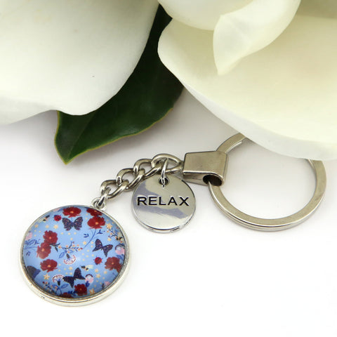 HEART & SOUL FLORALS COLLECTION - VINTAGE SILVER KEYRING WITH 'RELAX' CHARM - BUTTERFLY BLUES