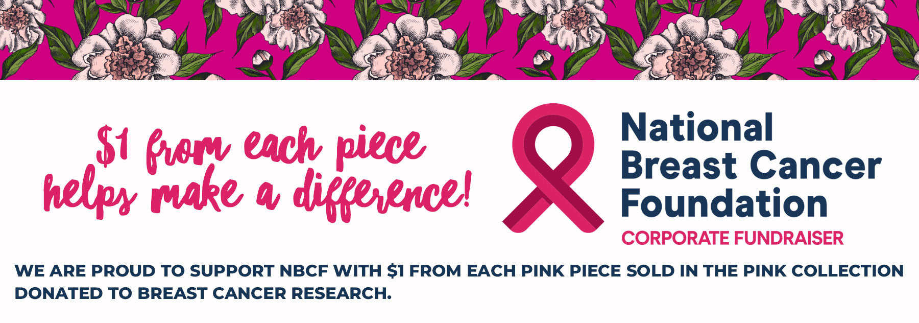 The Pink Collection - National Breast Cancer Foundation $1 from each product donated to Breast cancer resreach - Pink pendant necklaces, charm bracelets, earrings and keyrings  make the perfect gift for friends teachers Mums and Sisters.