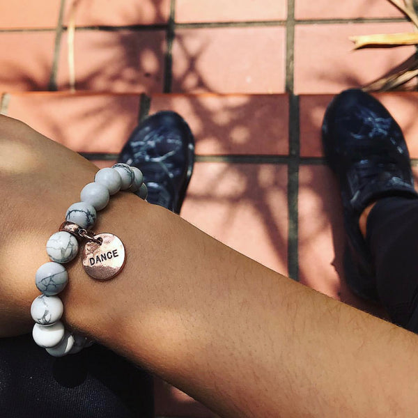 White Marble Bead Bracelet with cute word charm Dance