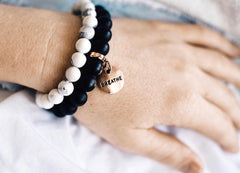 Stone Bracelet Black Onyx Jewellery Sister & Soul Word Charms, Charm Jewellery, Inspiring Gifts, Friendship Gifts, Stone Bead Bracelet
