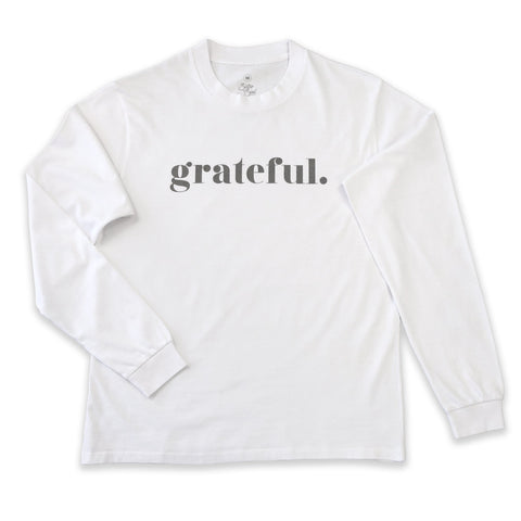 GRATEFUL LONG SLEEVE CREW NECK TEE - WHITE - CHARCOAL SHIMMER PRINT