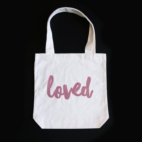 LOVED TOTE BAG - DUSTY BLUSH PRINT ON CREAM CANVAS