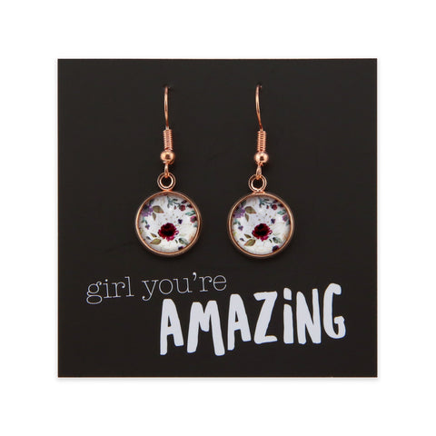 HEART & SOUL FLORALS COLLECTION - GIRL YOU'RE AMAZING - STAINLESS STEEL ROSE GOLD DANGLE EARRINGS