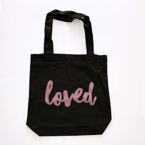 LOVED TOTE BAG - DUSTY BLUSH PRINT ON BLACK CANVAS