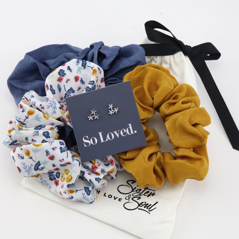 GORGEOUS Silk Scrunchie Gift Bundle with FLOWER Studs (S24)