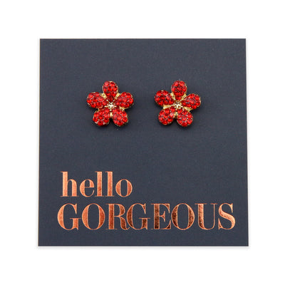 Red Flower Studs - Gold with Sterling Silver - Hello Gorgeous (8517)