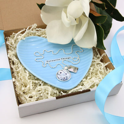 Blue favourite things MOther's Day Gift Bundle with LOVE pendnat necklace in silver and blue trinket plate.