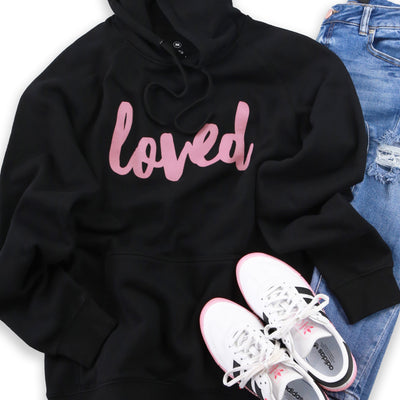 Loved HOODIE - Black with Dusty Blush Pink Print