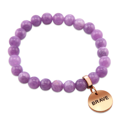 Stone Bracelet - Acai Berry Agate 8mm Beads - with Rose Gold Word Charm