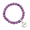 Stone Bracelet - Acai Berry Agate 8mm Beads - with Silver Word Charm