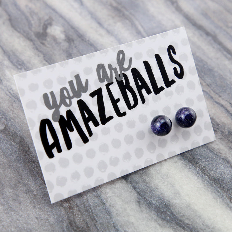 You Are Amazeballs! - Midnight Blue Sandstone Sparkle Ball Earrings (8702)