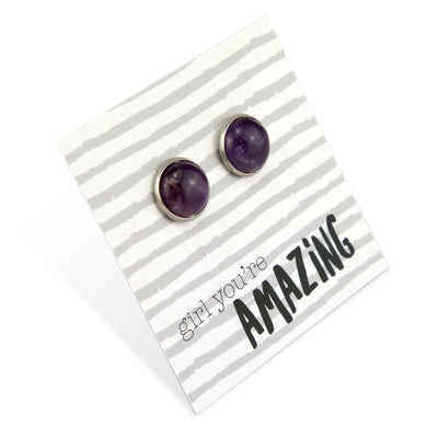 Stone Earrings - Girl You're Amazing - Silver Surround Earring Studs - Amythest  (8069)
