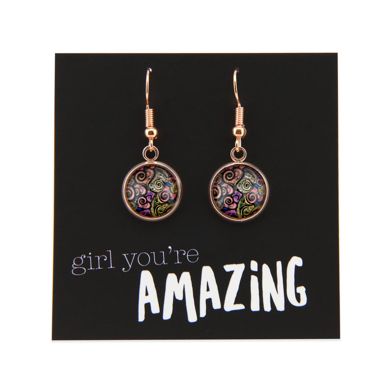 Heart & Soul - GIRL YOU'RE AMAZING - Stainless Steel Rose Gold Dangle Earrings - Amor (9201)