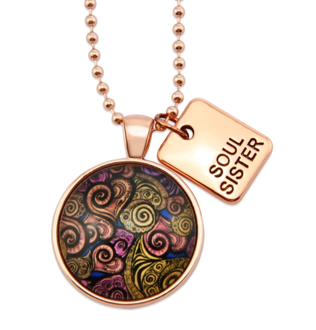 Heart & Soul - Rose Gold 'SOUL SISTER ' Necklace - Amor (10311)