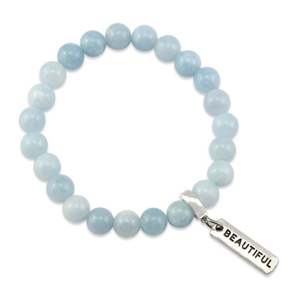Stone Bracelet - Aquamarine Stone - 8mm beads with Word charm